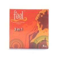 Feel 3 in 1 Condom - 3 Flavoured & Coloured Condoms