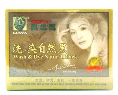 Maya Wash & Dye Natural Black - 12 Sachets X 20ml